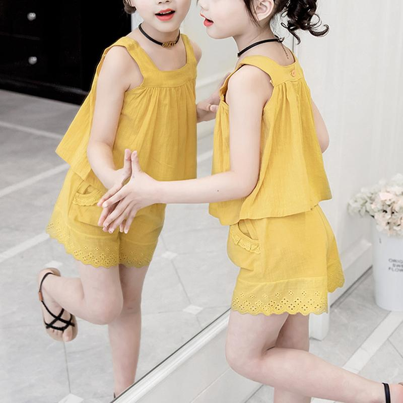Kid Girl Solid Color Back Button Cami Top & Shorts