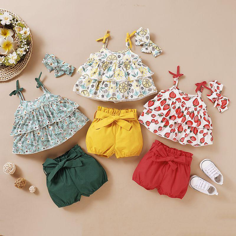 3-piece Floral Printed Tops & Shorts & Headband for Baby Girl - PrettyKid