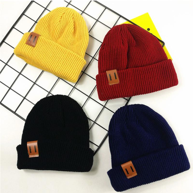 Solid Warm Skullies Beanie Caps Knitted Girls Winter Hats Wholesale children's clothing