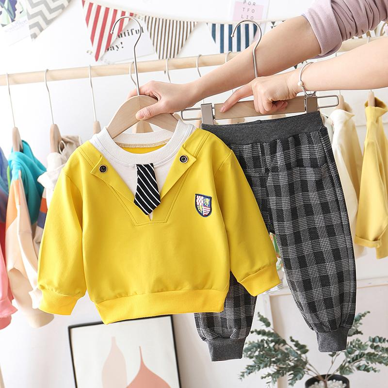 2-piece Tie Sweatshirts & Plaid Pants for Toddler Boy Wholesale children's clothing