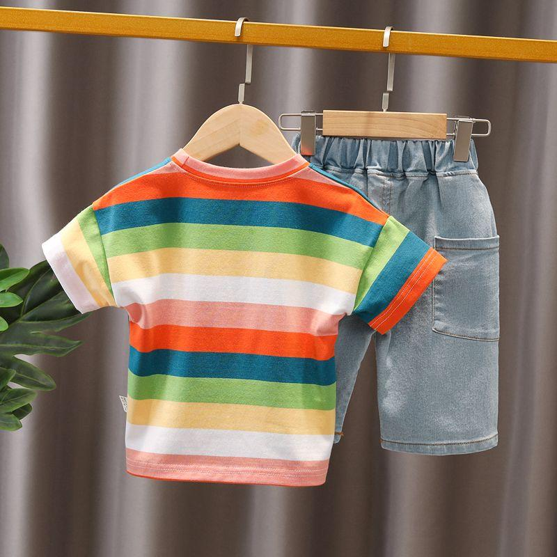 Children Boy 2pcs Color Stripes T-shirt & Shorts - PrettyKid