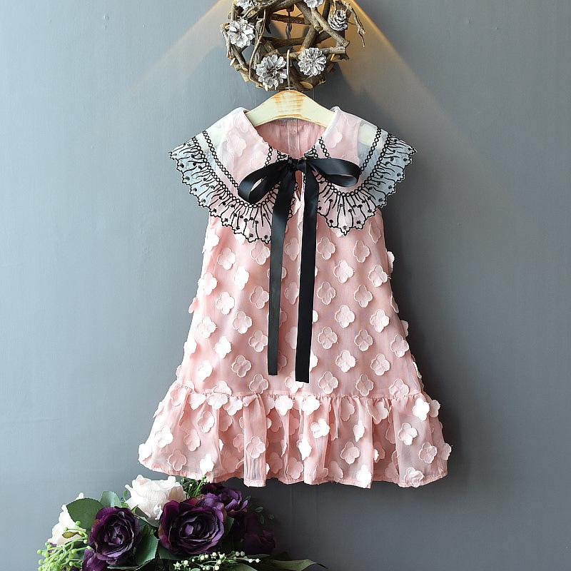 Toddler Girl Lace Lapel Bowknot Dress