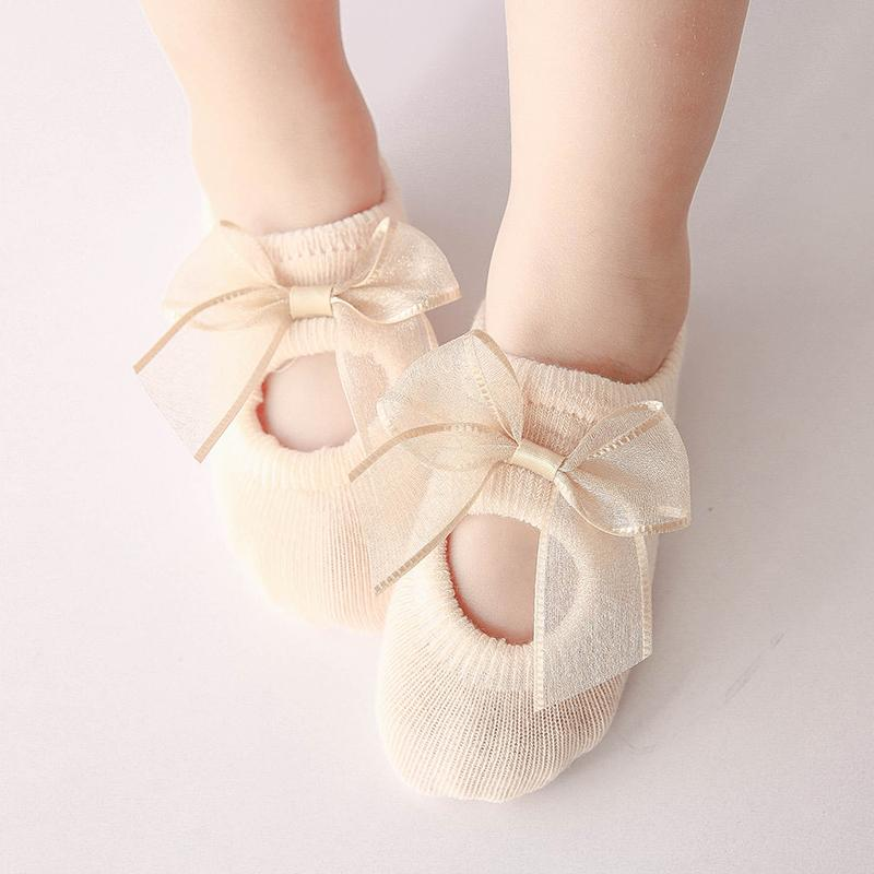 3-piece Cotton Bowknot Decor Antiskid Baby Socks Wholesale children's clothing - PrettyKid