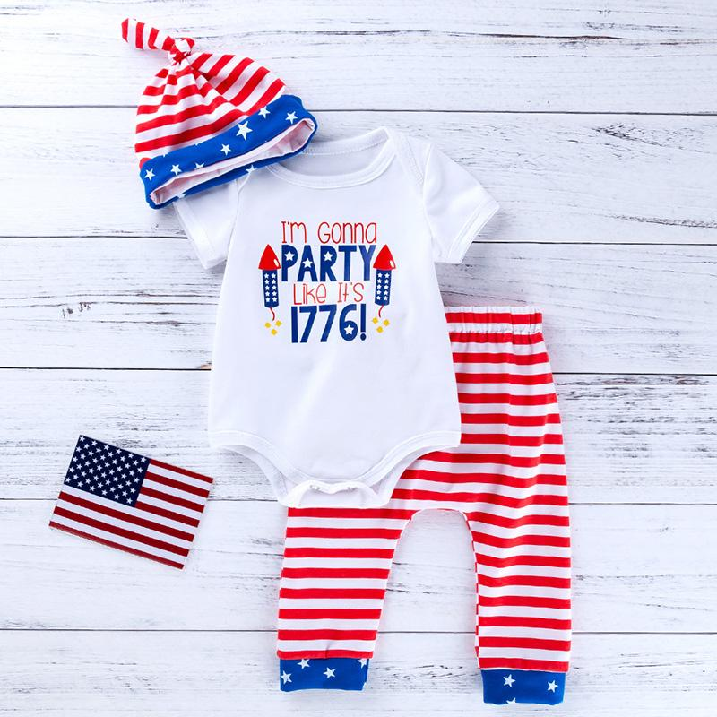 3-piece Letter Pattern Bodysuit & Pants & Hat for Baby Boy Wholesale children's clothing - PrettyKid