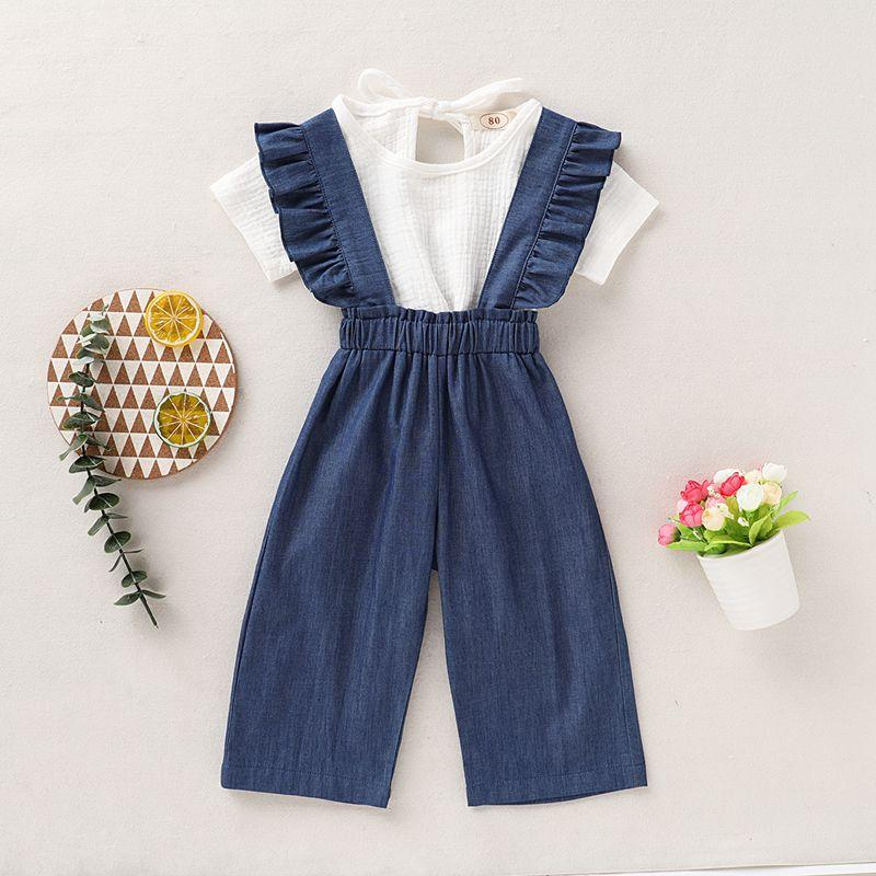 2-piece Solid T-shirt & Ruffle Denim Dungarees for Toddler Girl Wholesale children's clothing - PrettyKid
