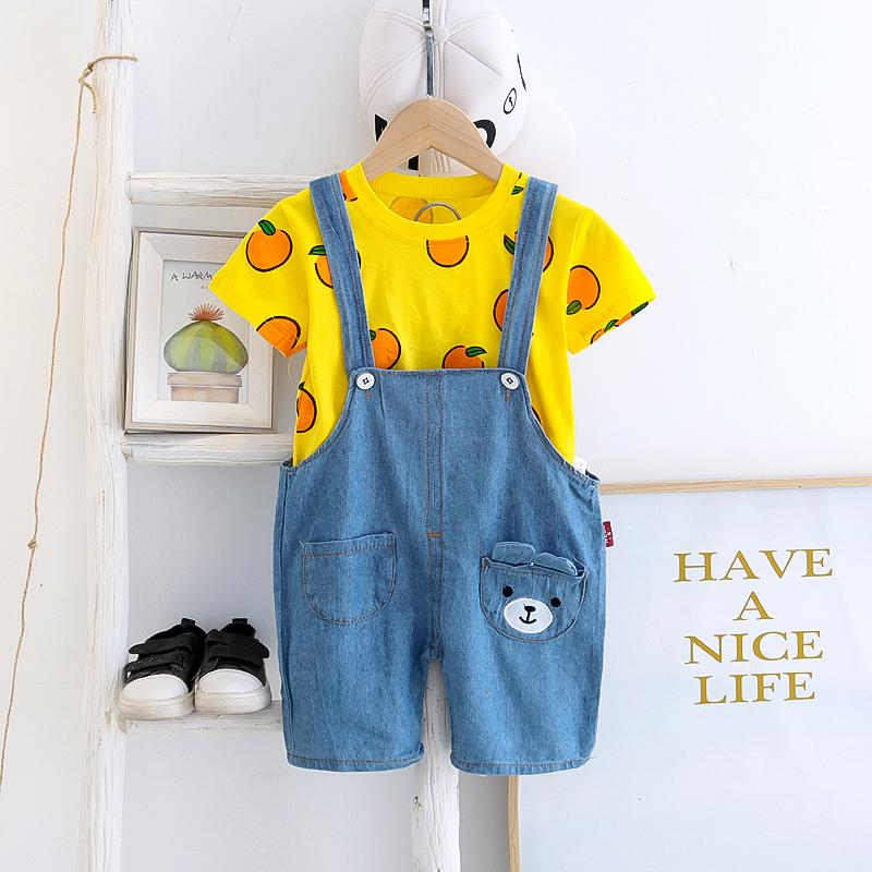 2pcs Fashion Bear Cartoon Print T-shirt and Jumpsuits Wholesale children's clothing