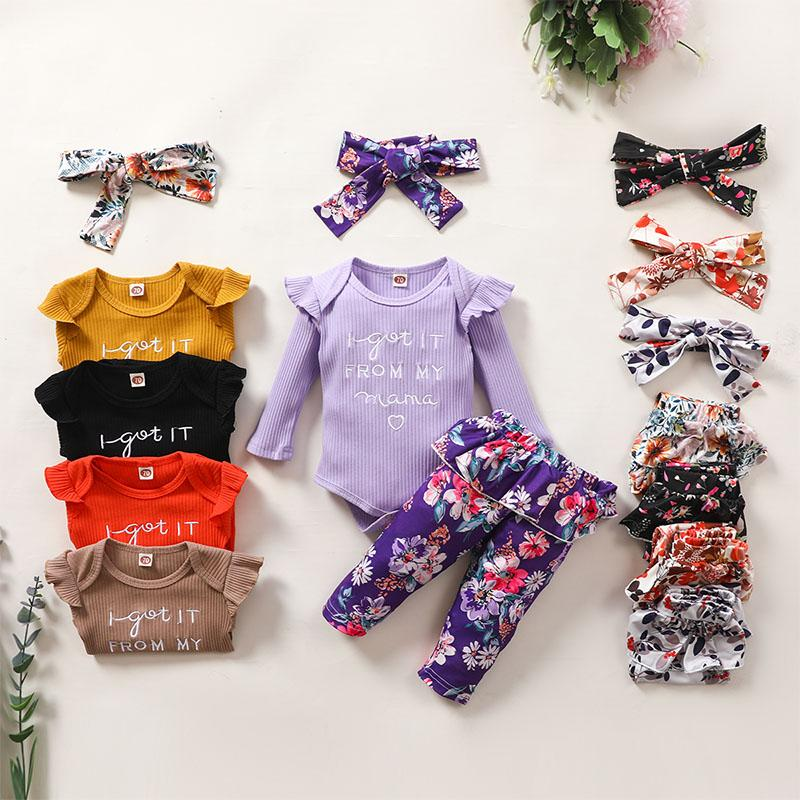 3-piece Romper & Floral Headband & Floral Pants for Baby Girl - PrettyKid