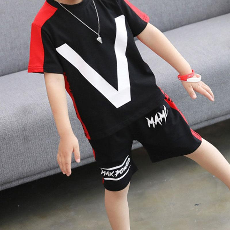 2 Pieces Color-block Letter Tee & Shorts for Kid Boy Wholesale children's clothing