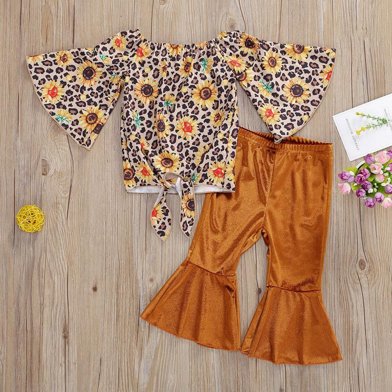 Fashion Leopard Ruffled Top and Pants Set Wholesale children's clothing
