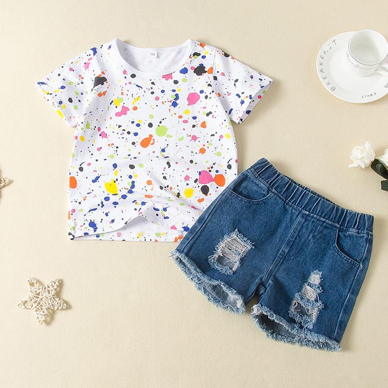 2-piece Tie dye Pattern T-shirt & Shorts for Toddler Girl£¨No Shoes???Wholesale children's clothing - PrettyKid