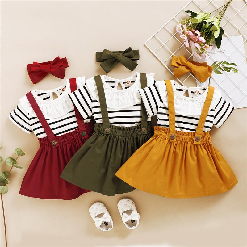 3-piece Striped T-shirt & Solid Dungarees & Headband for Toddler Girl Wholesale children's clothing - PrettyKid