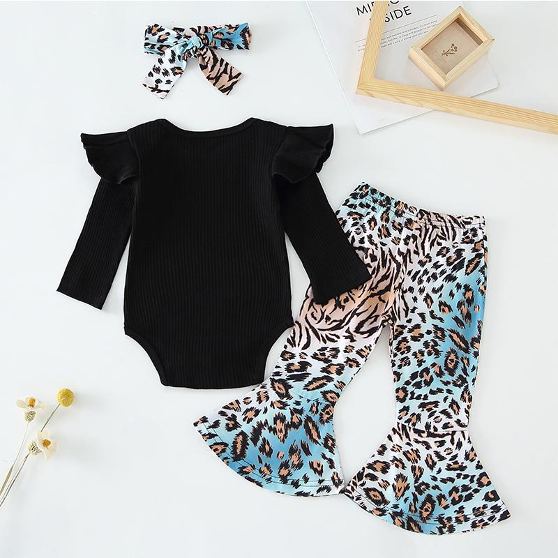 3-piece Solid Ruffle Bodysuit & Leopard Pants & Headband for Baby Girl Wholesale children's clothing