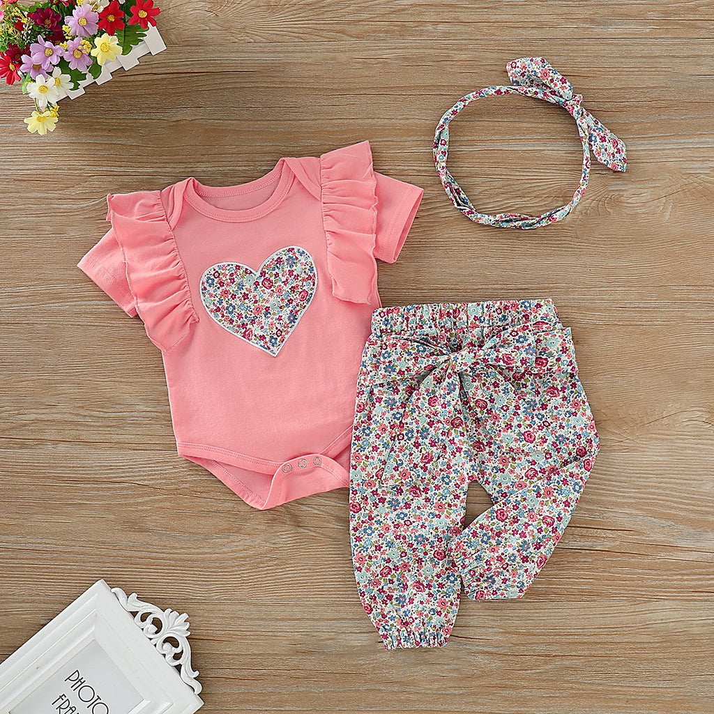 Loveheart T-shirts and Floral Pants For Baby Wholesale children's clothing