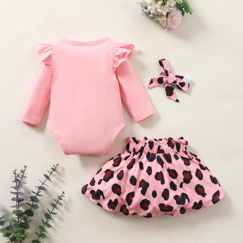 3-piece Ruffle Romper & Headband & Leopard Skirt for Baby Girl Wholesale Children's Clothing