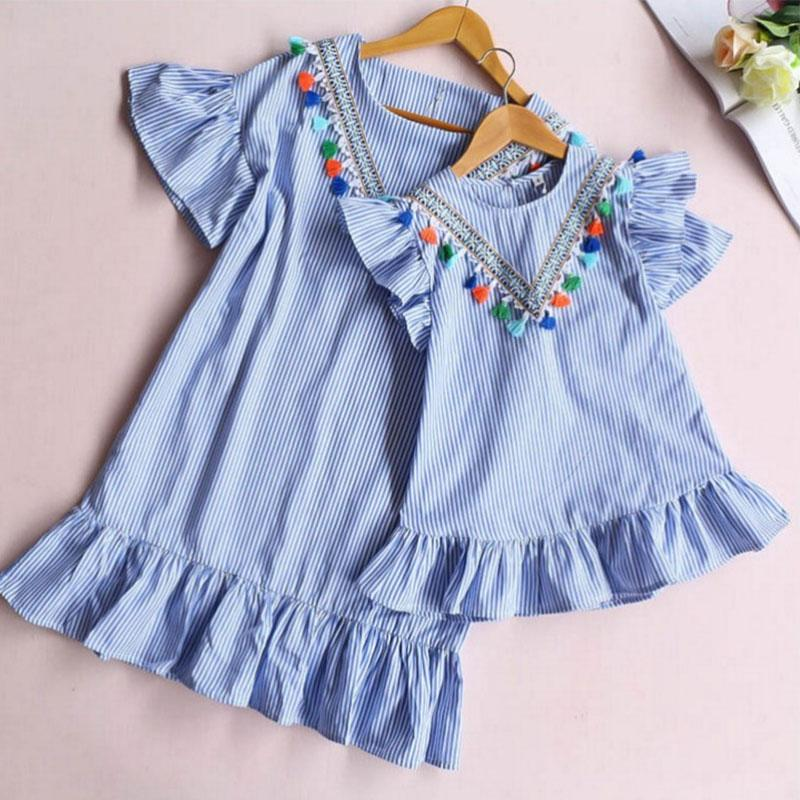 White Bodysuit Wholesale Solid Tassl Dress Mother Baby Clothes