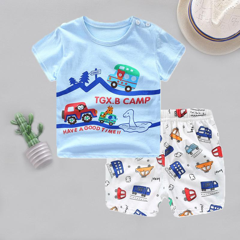2-piece Cartoon Design T-shirt & Shorts for Children Boy - PrettyKid