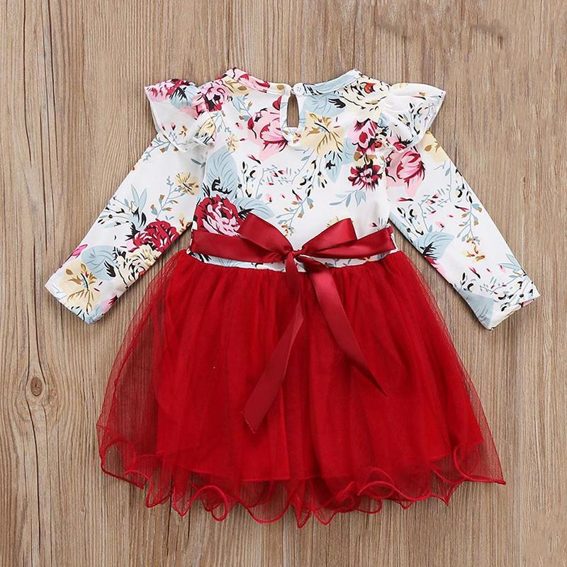 Ruffle Floral Dress for Toddler Girl Wholesale children's clothing