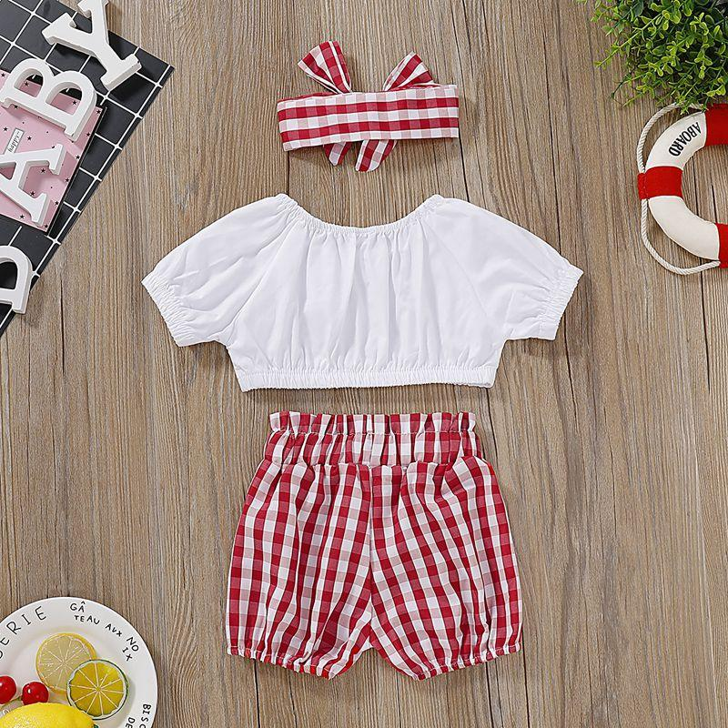 3-piece T-shirt & Headband & Plaid Shorts for Baby Girl Wholesale Children's Clothing