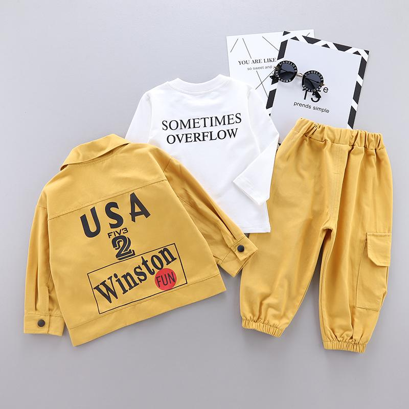 3-piece Letter Pattern Sweatshirts & Casual Jacket & Pants for Toddler Boy Wholesale children's clothing