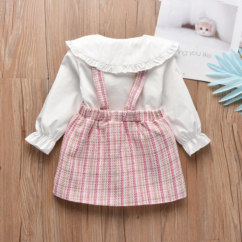 2-piece Strap Dress & Shirt for Toddler Girl Wholesale Children's Clothing