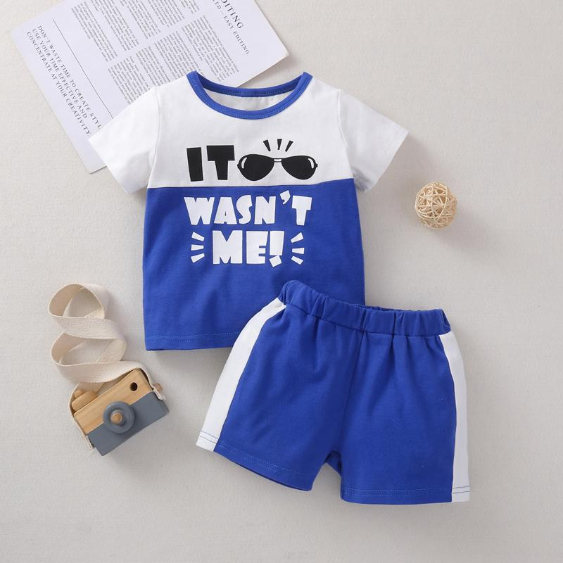Baby Boy Color-block Pattern Suit T-Shirt & shorts - PrettyKid