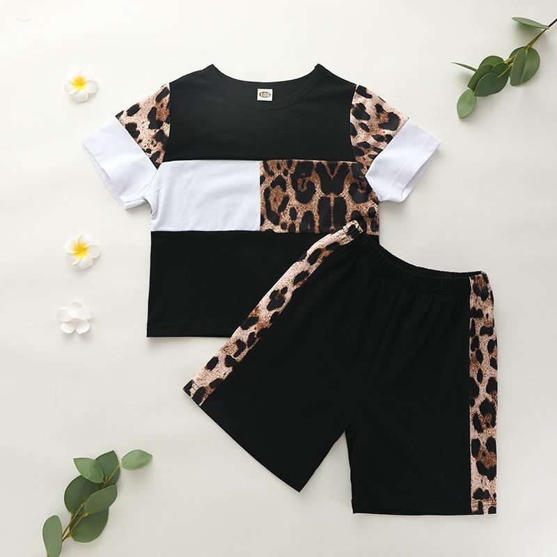 2pcs Fashion Leopard Color-block T-shirt and Pants Wholesale children's clothing