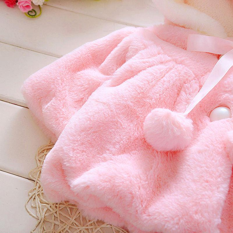 Solid Plush Rabbit Design Jacket for Baby Girl Wholesale children's clothing