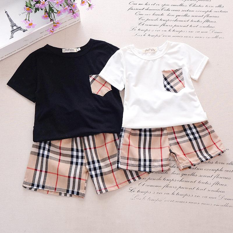 Classic Solid Short-sleeve Tee and Plaid Shorts Set Children's clothing wholesale - PrettyKid