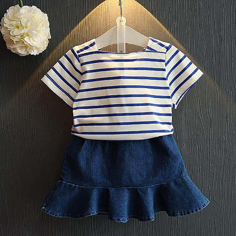2-piece Striped Dress Set for Toddler Girl Wholesale Children's Clothing