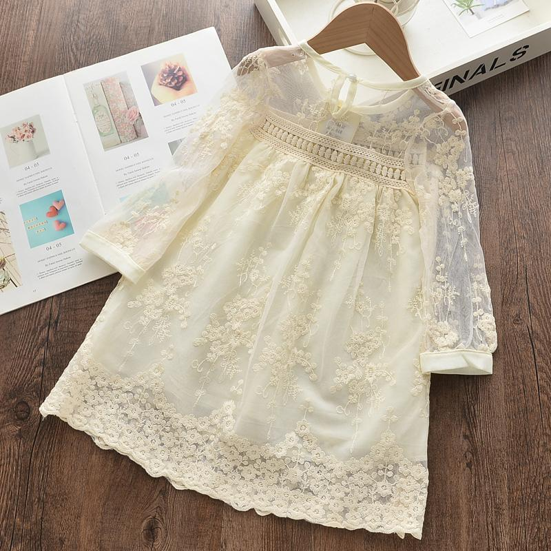 Solid Lace Floral Dress for Toddler Girl Wholesale children's clothing