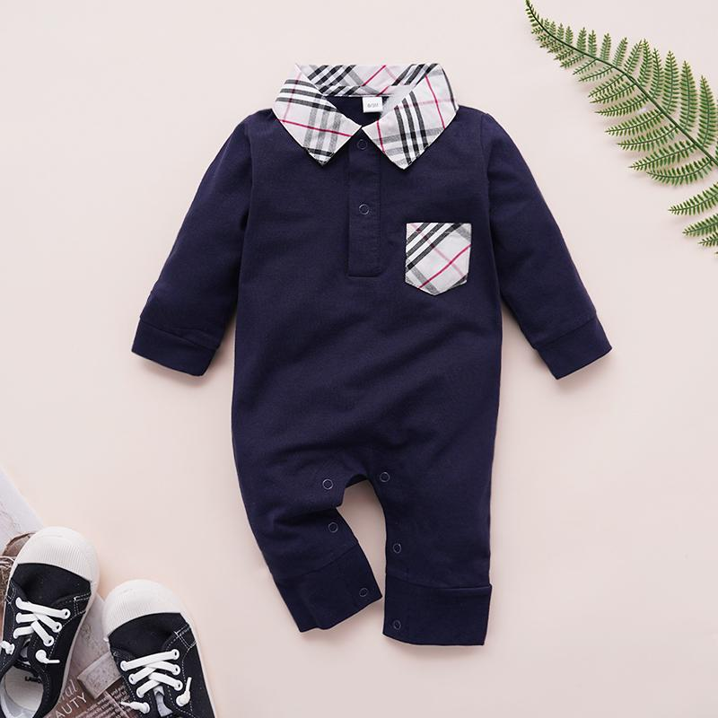 Casual Plaid Lapel Collar Jumpsuit for Baby Children's clothing wholesale - PrettyKid