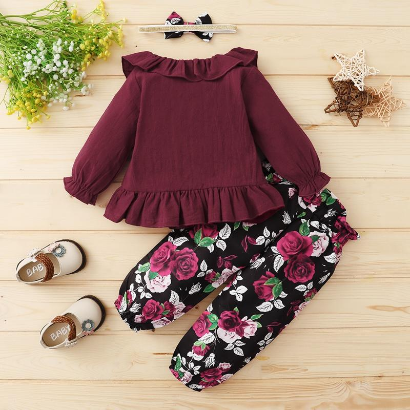 3-piece Ruffle Shirt & Pants & Headband for Baby Girl Wholesale children's clothing