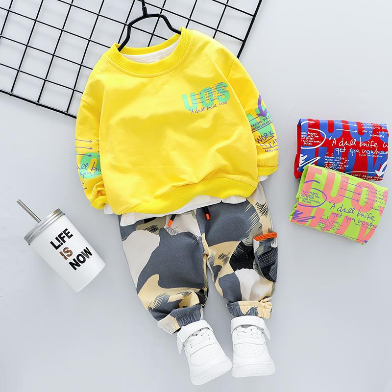 2-piece Fashion Letter Print  Hoodies and Camouflage Pants Wholesale children's clothing