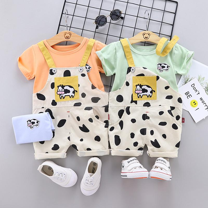 2pcs Fashion Cow Print T-shirt and Jumpsuits - PrettyKid