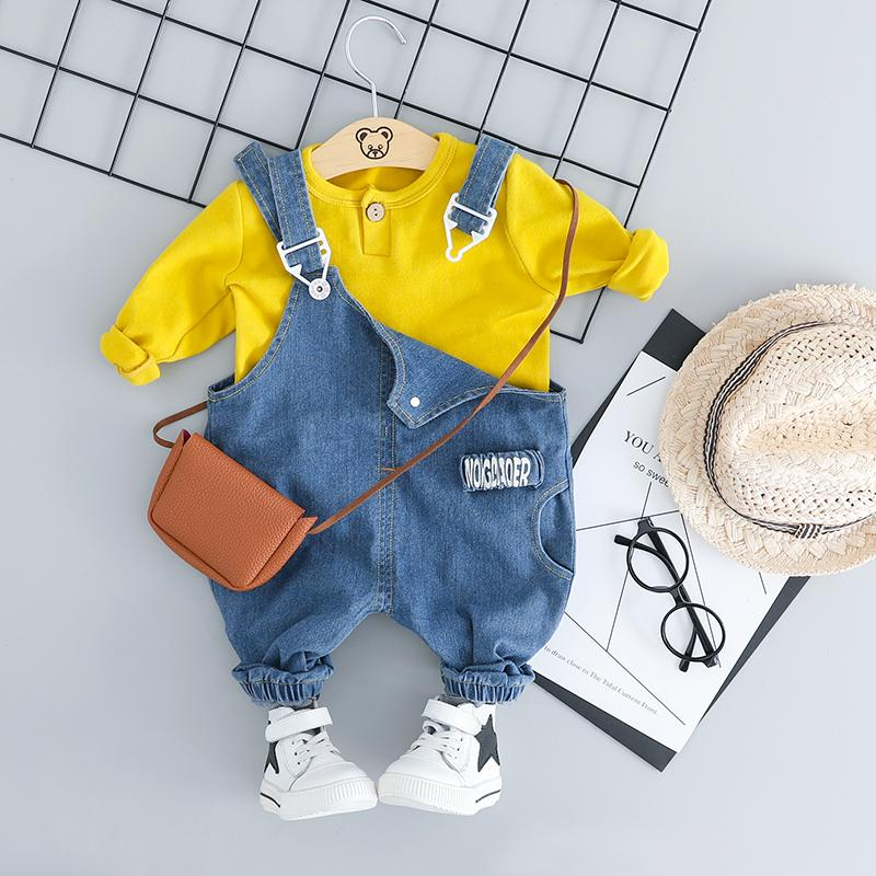 2-piece Solid Sweatshirt & Denim Dungarees for Toddler Boy Wholesale children's clothing - PrettyKid