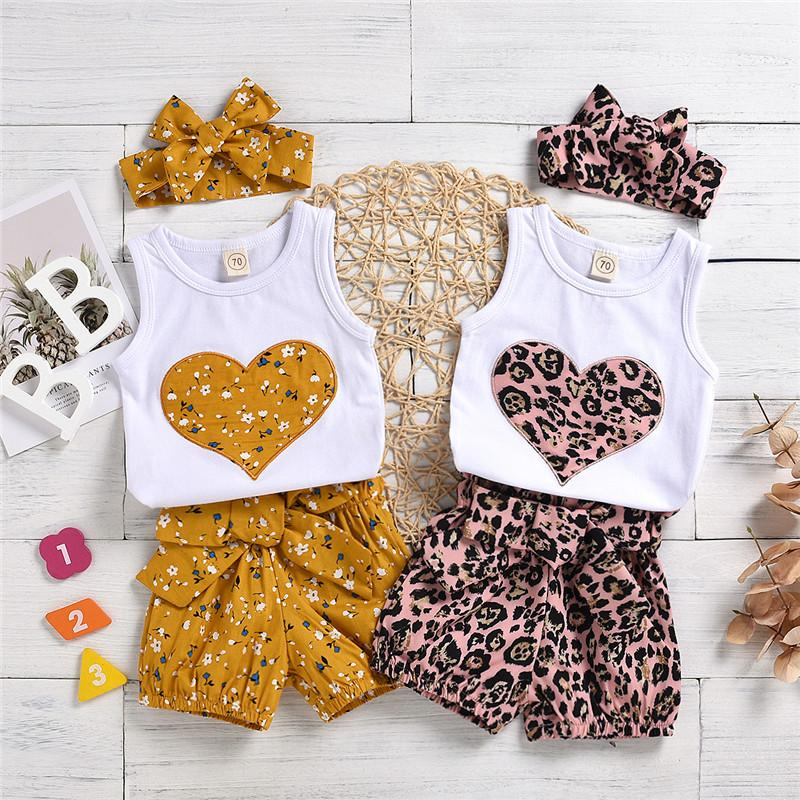 3-piece Heart-shaped Pattern Vest & Floral Printed Pants & Headband for Baby Girl - PrettyKid