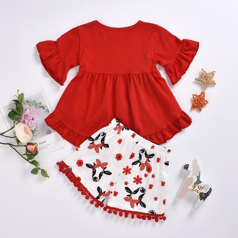 2-piece Ruffle Blouse & Tassel Shorts for Toddler Girl - PrettyKid