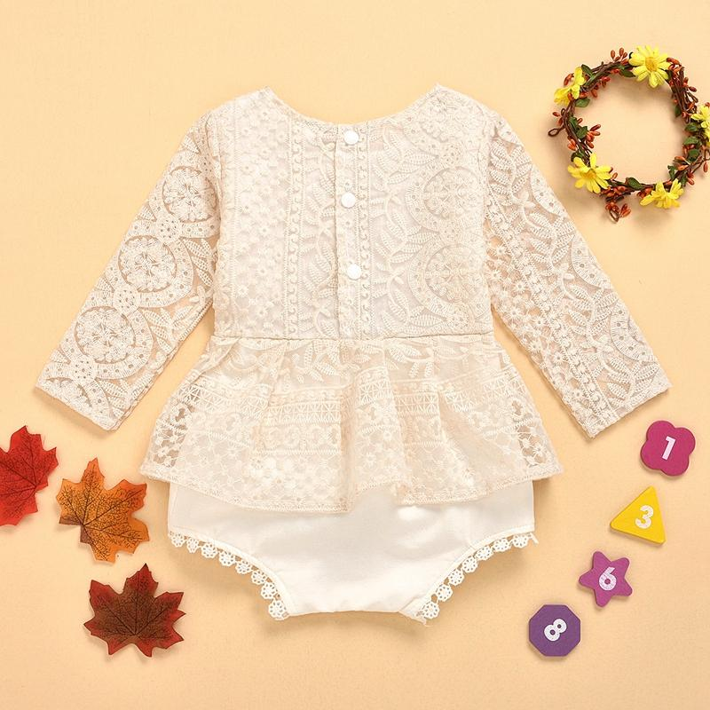 Solid Lace Tassel Bodysuit for Baby Girl Wholesale children's clothing