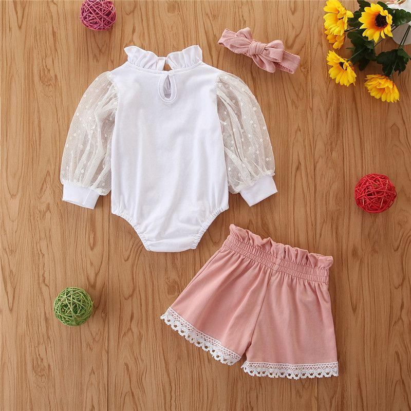 2-piece Solid Lace Bodysuit & Shorts for Baby Girl Wholesale children's clothing - PrettyKid