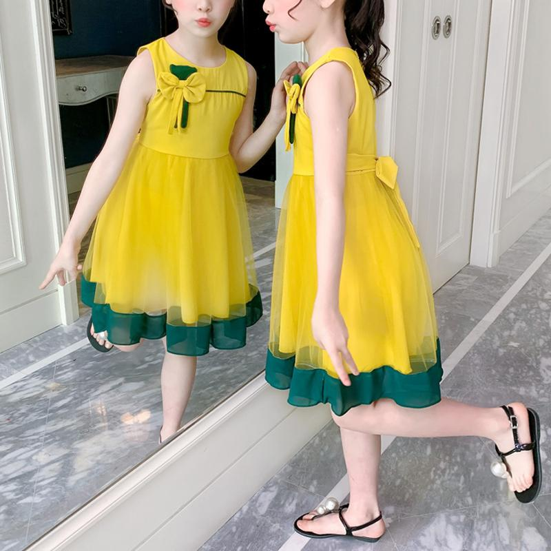 Bowknot Mesh Dress for Girl Wholesale Children's Clothing