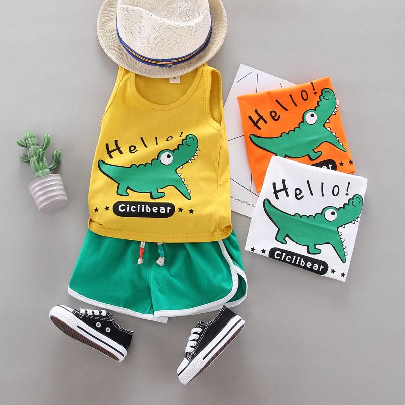 2-piece Dinosaur Pattern Vest & Shorts for Children Boy - PrettyKid