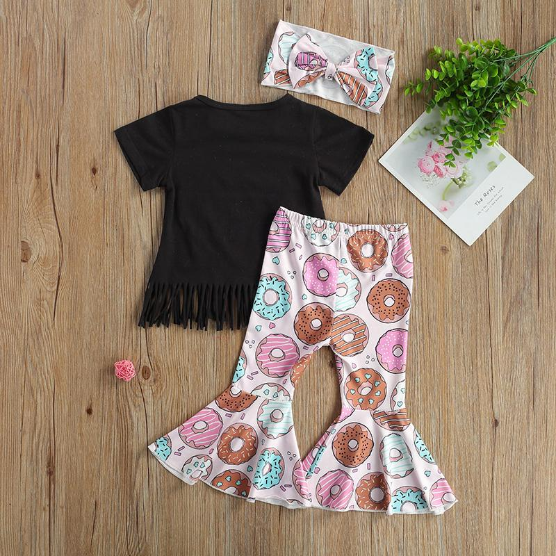 Toddler Girl Letter T-shirt & Printed Pants & Headhand Wholesale Children's Clothing