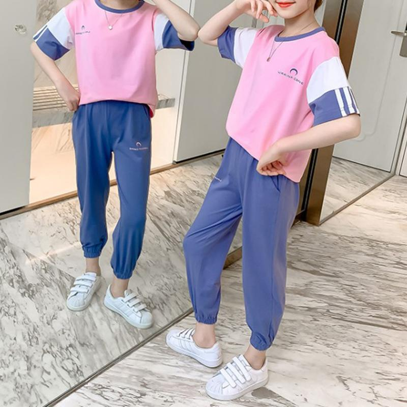 2-piece Casual Color-block T-shirt and Pants Sets - PrettyKid