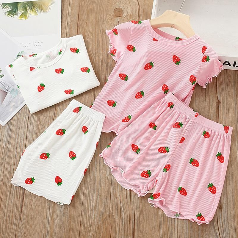 Toddler Girl Strawberry Pattern Summer T-shirt & Shorts Wholesale Children's Clothing