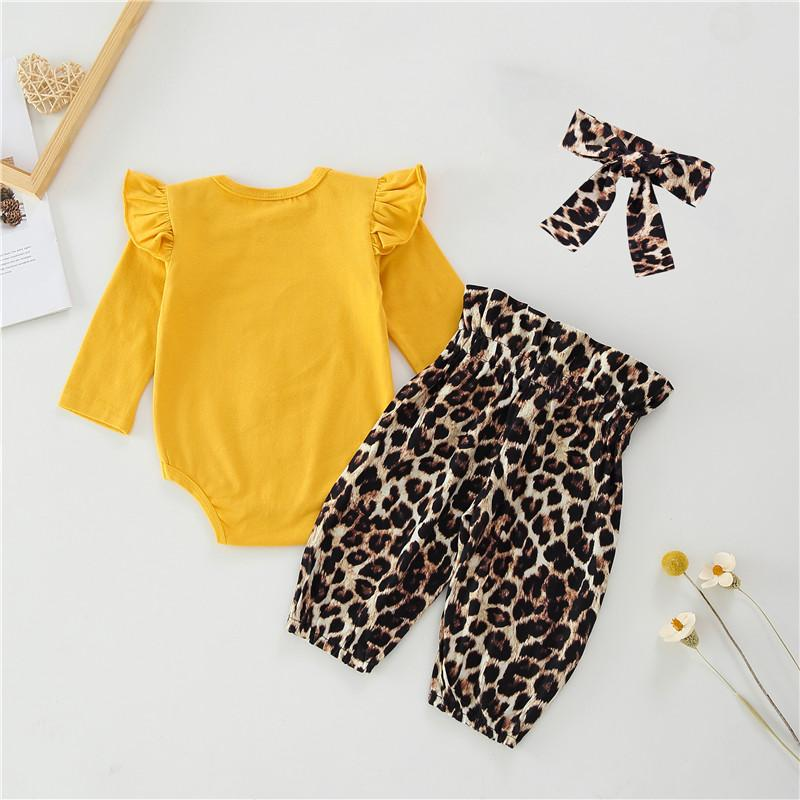 3-piece Heart-shaped Leopard Bodysuit & Pants & Headband for Baby Girl Wholesale children's clothing - PrettyKid