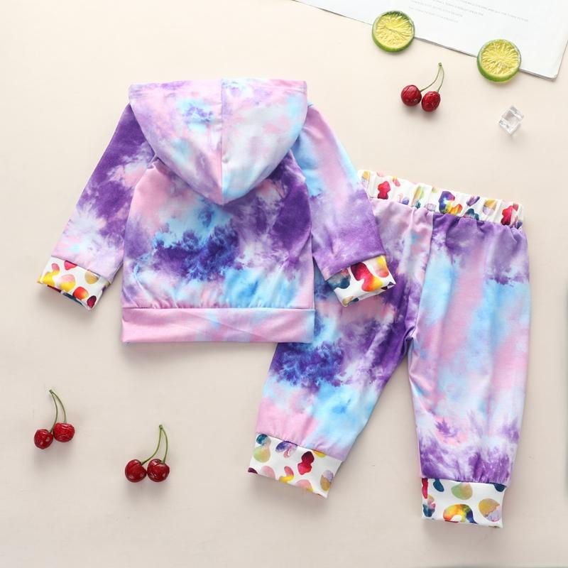 2-piece Tie Dye Gradient Hoodie & Pants for Baby Girl Wholesale children's clothing