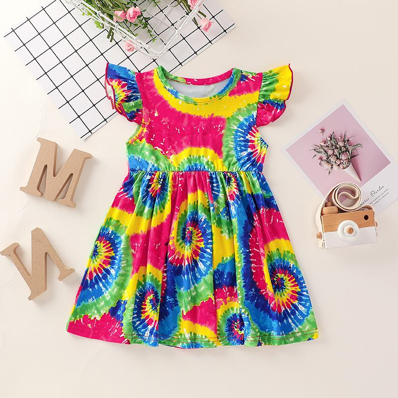 Color-block Ruffle Dress for Toddler Girl Wholesale children's clothing - PrettyKid