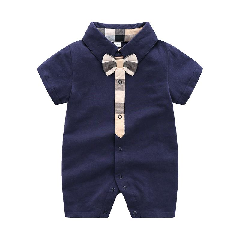 High Quality Cotton Classic Plaid Short-sleeve Bodysuit Children's clothing wholesale