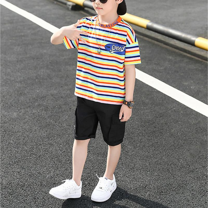 Kid Boy Stripes Color Top & Shorts