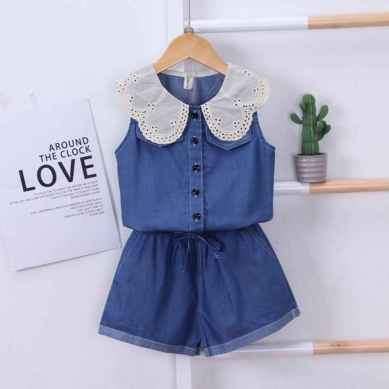 2-piece Ruffle Denim Tops & Shorts for Toddler Girl Wholesale children's clothing - PrettyKid
